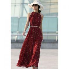 Elegant Keyhole Neckline Red And White Polka Dot Sleeveless Chiffon Women's Maxi Dress With Belt