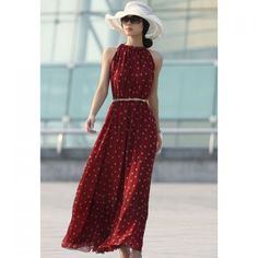 Elegant Keyhole Neckline Red And White Polka Dot Sleeveless Chiffon Women's Maxi Dress With Belt