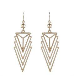 Gold Open Triangle Drop Earrings