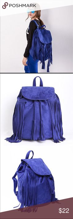 Blue suede fringe backpack - NEVER USED Sytlish backpack in soft suede material. Magnetic drawstring closure at top. 1-pocket interior and adjustable shoulder straps. Large capacity can hold a laptop up to 17'', notebooks, shoes, clothes, and all necessities for school, college and daily use. Beautiful royal blue color suede. miss fong Bags Backpacks