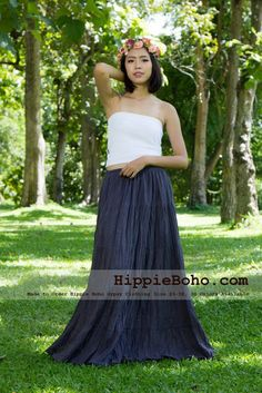 No.020  - Hippie Boho Gypsy Gray Maxi Full Long Length Tiered Layers Skirt Plus Size Women's Clothing