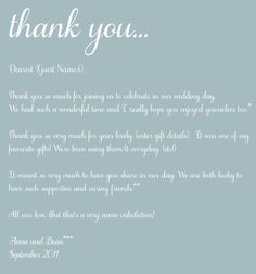 Thank You Present For Parents After Wedding : ... Thank You Card Wording, Wedding Thank You and Wedding Thank You Cards