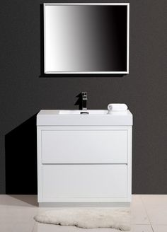 "Bliss 36"" Modern White Vanity - The Vanity Store Canada - 36"" - 1"