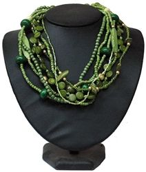 Green color 6 strands wood beads  plastic beads