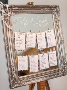 25 idées pour son plan de table mariage original et super chic - Marci Ut. Wedding Mirror, Wedding Frames, Wedding Table Seating, Wedding Table Numbers, Wedding Table Plans, Vintage Table Numbers, Table Seating Cards, Wedding Top Table, Wedding Table Themes