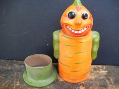 paper mache german candy containers | ... German Halloween Veggie Candy Container, Hand Painted Paper Mache