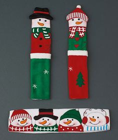 Set of 3 Snowman Appliance Handle Covers Thought these would be cute for the holidays or in fabric that coordinate with your kitchen for daily use, they are washable.