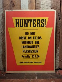 Vintage 60's 1968 PA Pennsylvania Game Commission by UrsMineNours