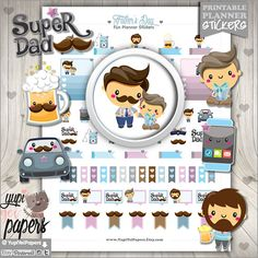 Father's Day Planner Stickers by www.YupiYeiPapers.Etsy.com