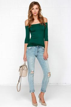Cute Forest Green Top - Off the Shoulder Top - Half Sleeve Top - $23.00