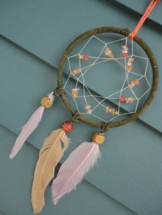 Green Dreams Dreamcatcher $18  #dreams #dreamcatcher #kaleidoscope #beautiful #feathers #big #dreamer #bohemian #unique #gift #idea #craft #indian #feathers #love #hippie #beads #soft #dreams #green #pink #brown #orange #wood