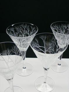 Four Martini Glasses  Hand Engraved  'Reaching by daydreemdesigns, $109.00