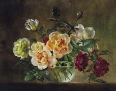 Cecil Kennedy (1905-1997) Cream, Pink, And Red Roses In A Glass Bowl (35,6 x 46 cm)