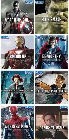 Avengers, by Durex - Imgur::::: omg Logan xD The hawkeye one is supposed to say distraction  isn't it?