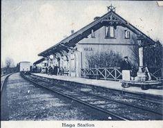 Haga stasjon Nes kommune Akershus fylke -Kongsvingerbanen folk og dressin på perrongen 1920-tallet