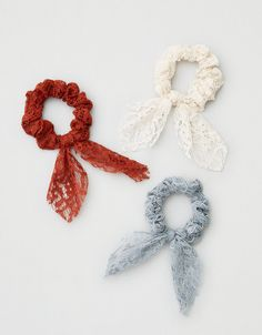 Shop Scrunchies & Hair Ties at American Eagle to find the right accessories for your day! Browse scrunchies and hair ties in new colors and designs today! Elastic Hair Ties, Lace Bows, Diy Ribbon, Hair Accessories For Women, Top Gifts, Mens Outfitters, Aeo, Organizer, Sewing Crafts