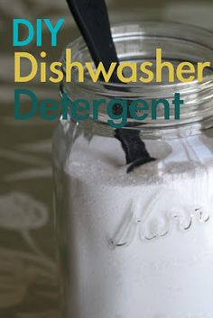 How to make DIY Dishwasher Detergent to save money and green cleaning. And others. Windex, laundry detergent...