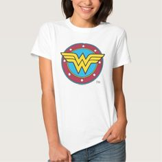 Wonder Woman Circle & Stars Logo Tee Shirt