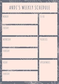 Gray and Pink Floral Weekly Schedule Planner