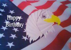 Bald Eagle over flag iris fold card I made