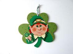 St. Patrick's Day Door Hanger, St. Patrick's Day, Leprechaun Face, Hand or Tole Painted, Green Shamrocks, Large Shamrock, Door Hanger by barbsheartstrokes on Etsy