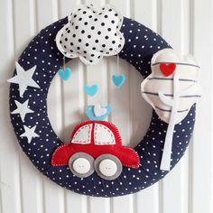 Items similar to Cute Car, Bird and Cloud, Polka Dots Dark Blues, Baby Boy Door Wreath on Etsy Baby Boys, Baby Boy Rooms, Baby Bedroom, Room Baby, Baby Kranz, Felt Crafts, Diy And Crafts, Pista Shell Crafts, Baby Boy Wreath