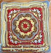 The 6th square of the Seaside Winter Blanket CAL