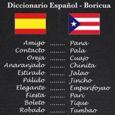 Parte del vocabulario Boricua; Hablamos español, pero no el mismo idioma :)