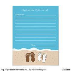 e6bfc647687d23 Flip Flops Bridal Shower Recipe Card Bridal Shower Invitations