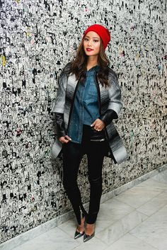 Jamie Chung in PAIGE Denim Eden Shirt in Madeline Paint