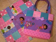 Dora the Explorer Baby Doll Diaper Bag and Matching Doll Quilt on Etsy, $45.00