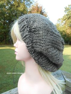 Chunky slouchy hat. Brown extra chunky winter hat. Unisex slouch hat. Warm  winter hat. 2c9729962466