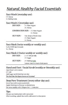 simple, healthy facials