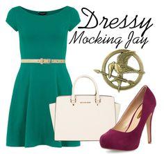 Dressy Mocking Jay Pin look - short emerald dress, michael kors purse, maroon pumps