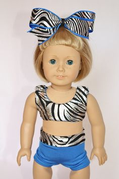 American Girl 18 Doll Clothes and Accessories - Cheer Sports Bra and Shorts - Holographic Zebra and Blue American Girl Doll Gymnastics, My American Girl Doll, American Girl Crafts, American Girl Clothes, Cheer Practice Outfits, Cheer Outfits, Girl Outfits, Girls Sports Clothes, Boy Doll Clothes