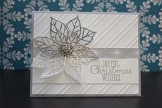 September_Christmas_Card_Class; Stampin Up Case from Pinterest, Joyful Christmas Stamp set, Winter Frost Designer Series Paper, Frosted Finishes Embellishments, Stylish Stripes Designer Series Paper, Versamark, Heat Embossing, Pewter Embossing Powder