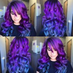 """""""💜 Stroke of Midnight 💜 Purple and electric blue color melt by @annabiancahair Gorgeous work Bianca!…"""""""