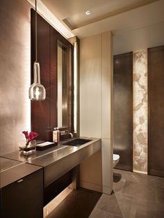 A modern powder bath by Garret Cord Werner #luxurybathroom