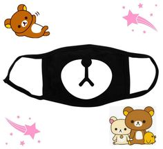 Anti dust mask Rilakkuma bear Kawaii cute - Anime emoji emoticons -  Eyes mouth - Harajuku - Surgical mask by KawaiiAsHellx on Etsy https://www.etsy.com/listing/247676369/anti-dust-mask-rilakkuma-bear-kawaii