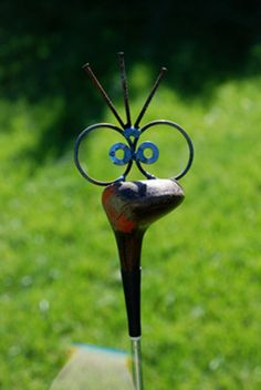 Golf Driver Bird Garden Poke, recycled garden art