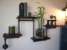 Plumbing Pipe Shelving with Wood