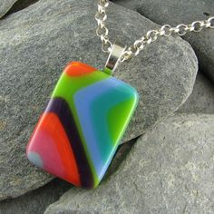 Retro Colorful Fused Glass Pendant