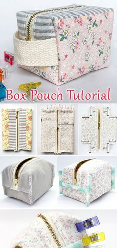 accessories store DIY Zippered Box Pouch Tutorial -- A fun little pouch to store sewing notions and other small accessories Sewing Hacks, Sewing Tutorials, Sewing Crafts, Beginners Sewing, Tutorial Sewing, Bag Tutorials, Small Sewing Projects, Bag Patterns To Sew, Sewing Patterns
