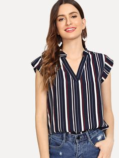 V Neckline Striped Top - Stage Vintage Bachlorette Ideas Lole Boutique Killstar Revolve Party Baby Acronym Lalarue Bape Maternity Liz Claiborne Hurley Inuit Hygge Fashion News, Fashion Outfits, Stylish Outfits, Fashion Women, Types Of Shirts, Cap Sleeves, Neckline, V Neck, Crop Tops