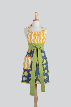 Etsy listing at https://www.etsy.com/listing/193344860/cute-kitsch-retro-apron-yellow-chevron