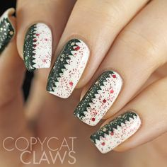 copycat claws zig zag christmas nails - Pinterest Christmas Nails