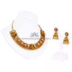 Buy Necklaces Online | Ruby Ramparivar Short Neklace from Kameswari Jewellers Antique Gold Rings, Antique Jewellery Designs, Gold Jewelry Simple, Antara, Necklace Online, Bridal Necklace, Necklace Designs, Bride Necklace