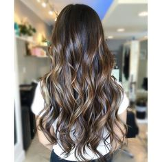 Hair goals. Color by @balayagebykaylie #hair #hairenvy #hairstyles #brunette #balayage #highlights #longhair #newandnow #inspiration #maneinterest