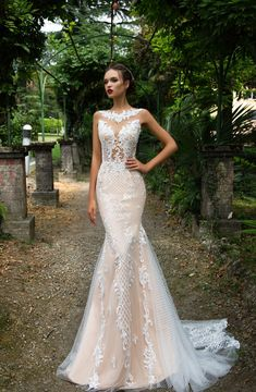 Admirable mermaid silhouette wedding gown Salma is made of classy gauze covering a nude base. The mirror pattern lace is manually beaded and embellished with Swarovski crystals. The back is decorated with fishnet trail and delicately buttoned up. Wedding Dresses For Sale, Bridal Wedding Dresses, Wedding Attire, 2017 Wedding, Lace Wedding, Wedding Venues, Modest Wedding, Lace Mermaid Wedding Dress, Mermaid Dresses