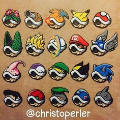 Custom Mario shells collection perler beads by christoperler Perler Bead Mario, Pokemon Perler Beads, Diy Perler Beads, Pearler Bead Patterns, Perler Patterns, Pixel Beads, Fuse Beads, Modele Pixel Art, Art Perle